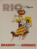 Braniff Airways Travel Poster  Rio De Janiero  Dancer