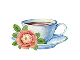 Illustration of Vintage Porcelain Teacup and Flowers
