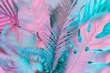 Tropical and Palm Leaves in Vibrant Bold Gradient Holographic Colors Papier Photo par Zamurovic