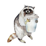 Racoon with Coffee Mug