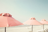 Vintage Summer Beach with Pink Pastel Parasols