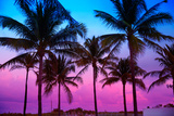 Miami Beach South Beach Sunset Palm Trees in Ocean Drive Florida Papier Photo par Holbox