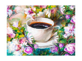 A Cup of Coffee Among Flowers