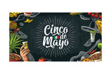 Cinco De Mayo Lettering and Mexican Traditional Food with Tequilla  Guacamole  Quesadilla  Enchilad