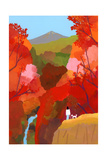 Autumnal leaves and waterfalls