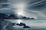 Marine Landscape with the Setting Sun Papier Photo par Alkestida