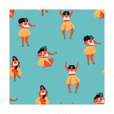 Hawaiian Hula Dance Girls Dancing and Playing Guitar Reproduction d'art par Tasiania