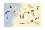 People at Beach or Seashore Relaxing and Performing Leisure Outdoor Activities Reproduction d'art par GoodStudio