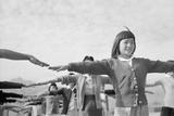 Japanese-American girls exercising at Manzanar  1943