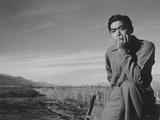 Tom Kobayashi at Manzanar Relocation Center  California  1943