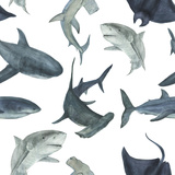 Watercolor Pattern with Sharks
