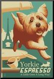 Yorkshire Terrier - Retro Yorkie Espresso Ad Reproduction montée par Lantern Press