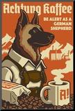 German Shepherd - Retro Coffee Ad Reproduction montée par Lantern Press