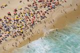 Aerial of large crowd at the Copacabana Beach in Rio de Janeiro