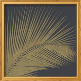 3 D Illustration Golden Palm Leaves Abstract Black Relief Background with Gold Leaf with a Volumin