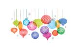 Christmas Backgound with Christmas Balls, Watercolor Vibrant Colors Christmas Decoration, Merry Chr Giclée premium par Marish