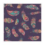 Bohemian Style Feathers Seamless Pattern Giclée premium par Marish