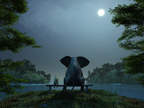 Elephant and Dog Meditate at Summer Night