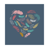 Bohemian Style Poster with Gypsy Colorful Feathers, Arranged in Heart Giclée premium par Marish