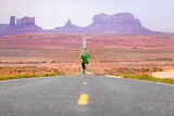 Running Man - Runner Sprinting on Road by Monument Valley Concept with Sprinting Fast Training For