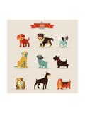 Dogs Vector Set of Icons and Illustrations Giclée premium par Marish