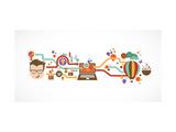 Design, Creative, Idea and Innovation Infographic Giclée premium par Marish