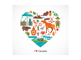 Canada Love - Heart With Many Icons And Illustrations Giclée premium par Marish