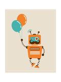 Hipster Vintage Robot With Balloons - Retro Style Card Giclée premium par Marish