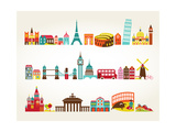 Travel And Tourism Locations Reproduction d'art par Marish