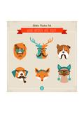 Cute Fashion Hipster Animals & Pets, Set of Vector Icons Giclée premium par Marish