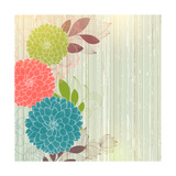 Hand-Drawing Floral Background with Flower Dahlia Giclée premium par Helga Pataki