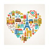 Pars Love - With Set Of Icons Giclée premium par Marish