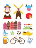 Collection Of Netherlands Icons Giclée premium par Marish