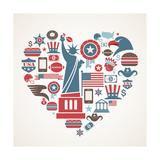 America Love - Heart Giclée premium par Marish