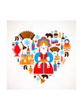 Russia Love - Heart Giclée premium par Marish
