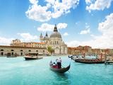 Grand Canal And Basilica Santa Maria Della Salute  Venice  Italy And Sunny Day