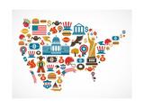 America Map With Many Icons Giclée premium par Marish