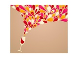 Funky Colorful Retro Wine Background Giclée premium par Marish