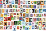 Colorful Alphabet Made Of Magazine Clippings And Letters  Isolated On White