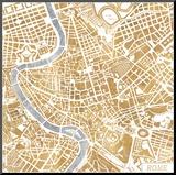 Gilded Rome Map Reproduction montée par Laura Marshall
