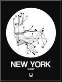 New York White Subway Map Reproduction montée par NaxArt