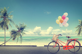 Vintage Bicycle with Balloon on Beach Papier Photo par Jakkapan