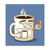 Grumpy Coffee Cartoon Character Eating A Donut