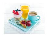 Breakfast With Yoghurt  Berries  Juice  Toast And Coffee