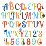 Cute Retro Style Boy Themed Alphabet Set
