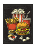 Poster with Fast Food Cup Cola  Hamburger  Hotdog  Fry Potato in Red Paper Box  Carton Bucket Popc