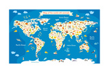 Map of the World with Animals Beautiful Colorful Vector Illustration