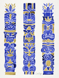 Navy and Gold Tiki Totems