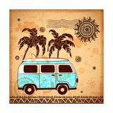 Retro Travel Bus with Vintage Background Giclée premium par Transiastock