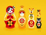 Yellow Russian Dolls Reproduction d'art par Cat Coquillette